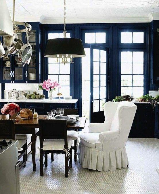 blue kitchen home-interior
