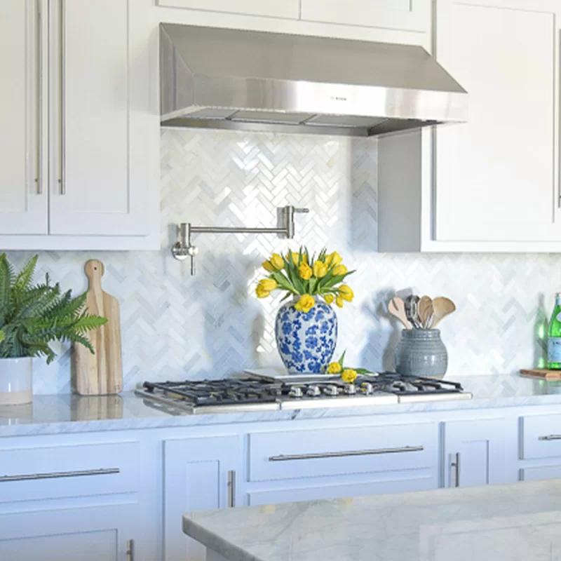 Download Wallpaper White Kitchen With Backsplash Images