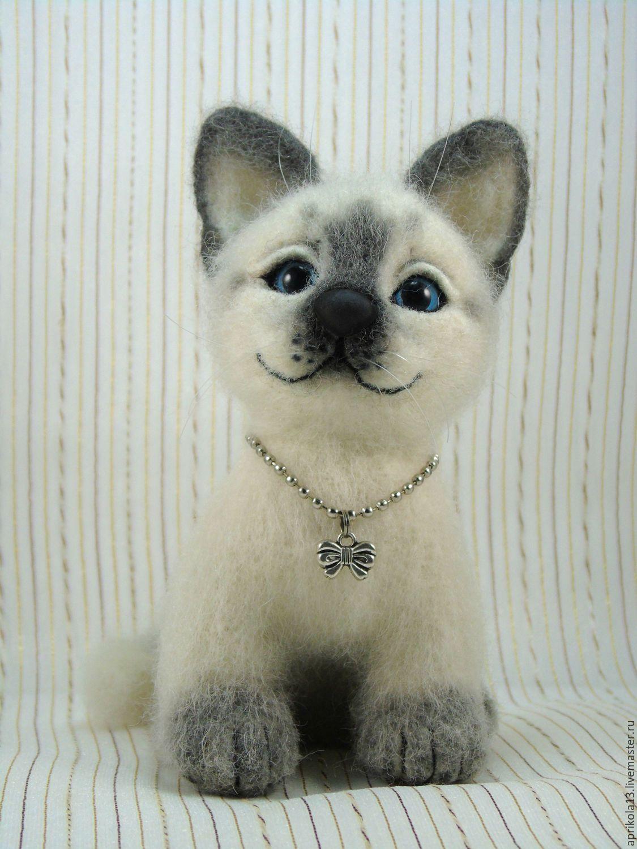 Купить Валяная сиамская кошка Таша. Игрушка из шерсти. - белый, пушистый, сиамская кошка