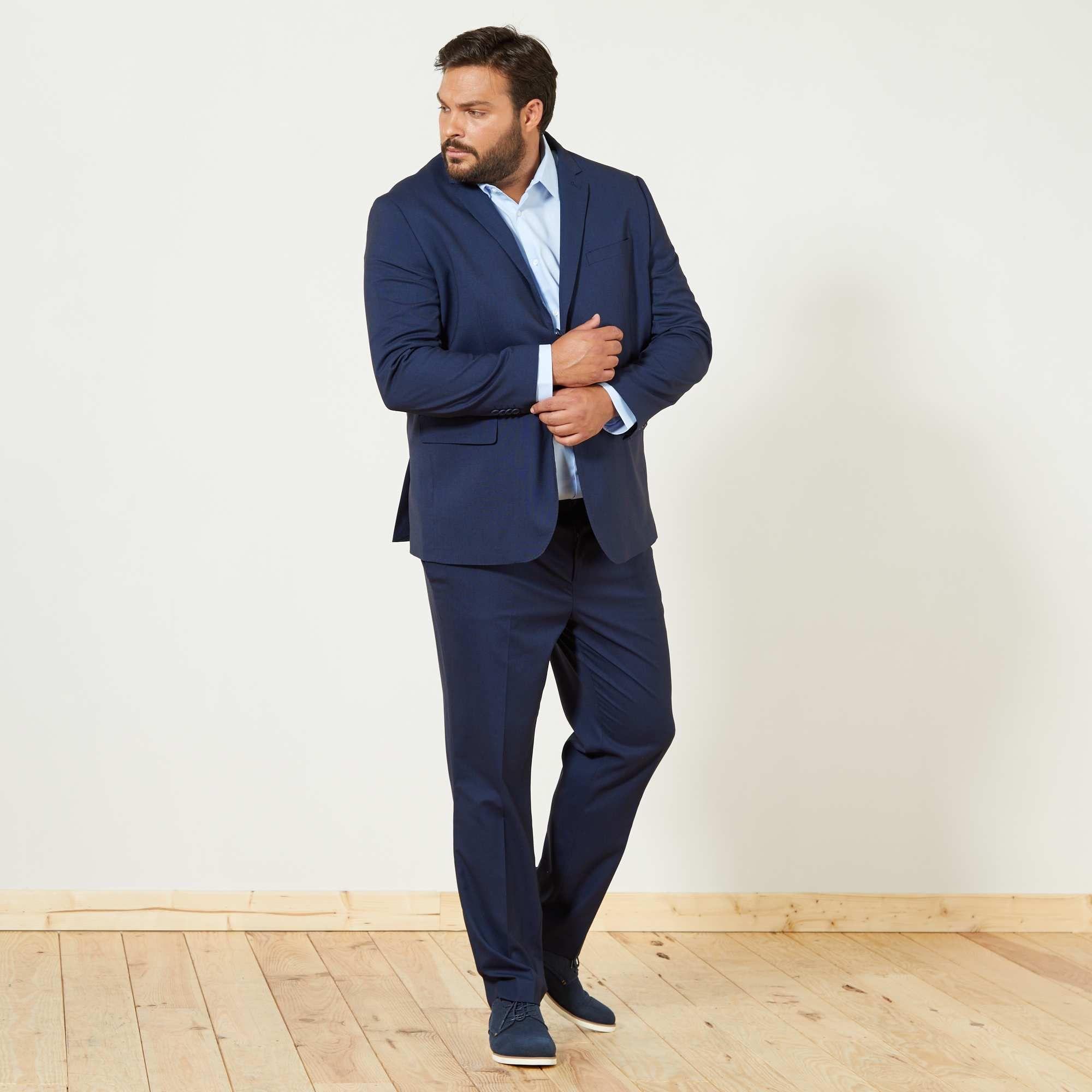 dc8209be26c3 Pantaloni abito caviale regular Taglie forti uomo - BLU - Kiabi - 35