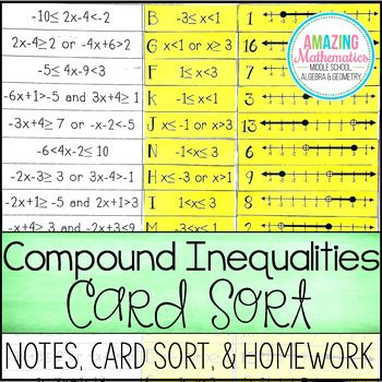 This Compound Inequalities Card Sort Activity Requires Students To Solve Compound Inequalit Compound Inequalities Graphing Inequalities Inequalities Activities