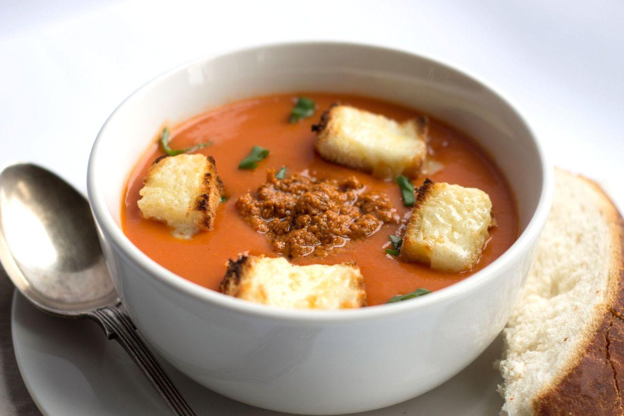 Tomato Pesto Soup with Cheesy Croutons