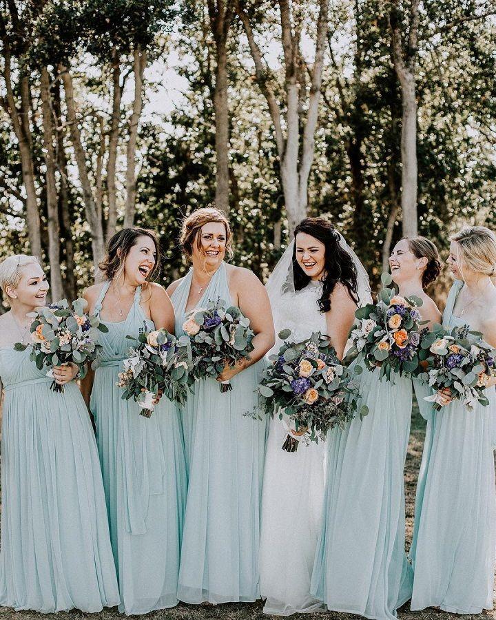 Blue long bridesmaid dresses | mismatched bridesmaid dresses #bridesmaiddresses #bridesmaids