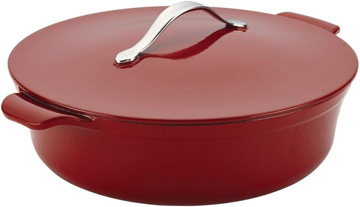 Anolon Cast Iron Covered Braiser, Red, 5 qt. - Red - $260.00