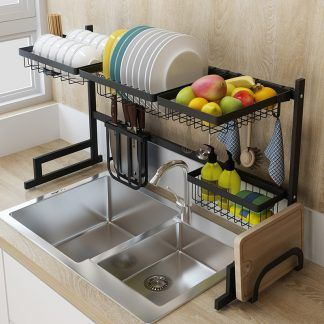 Photo of Black stainless steel kitchen rack sink sink dish rack drain bowl rack dish rack kitchen supplies storage rack
