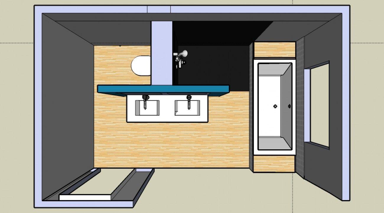 Leuk idee voor de indeling van onze badkamer!   Küçük Banyolar ...