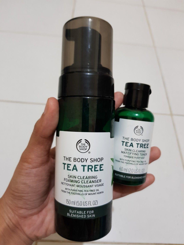 Preloved The Body Shop Tea Tree Skin Clearing Foaming Cleanser Dan Toner On Carousell Body Shop Tea Tree Foam Cleanser The Body Shop