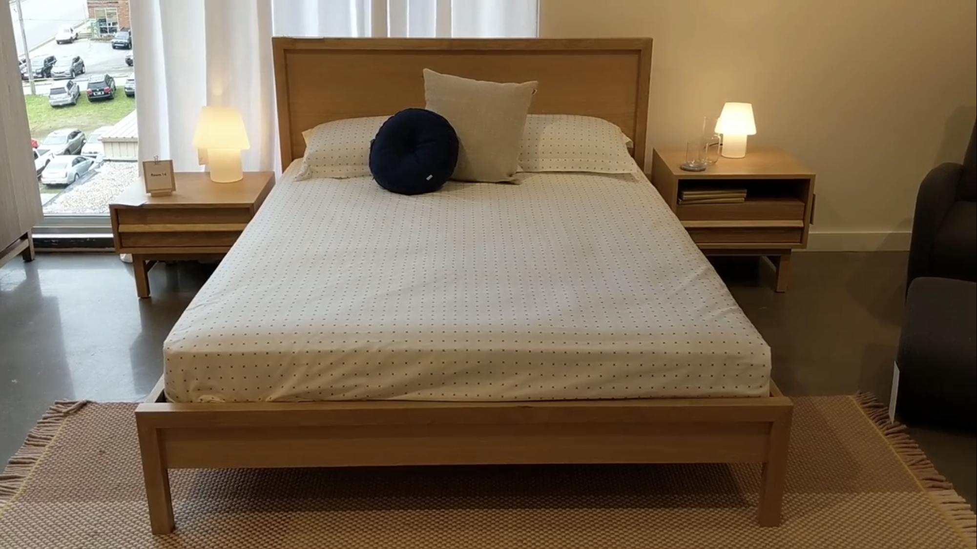 Best Marcel Queen Bed In Oak Marcel Open Shelf Nightstand In 640 x 480