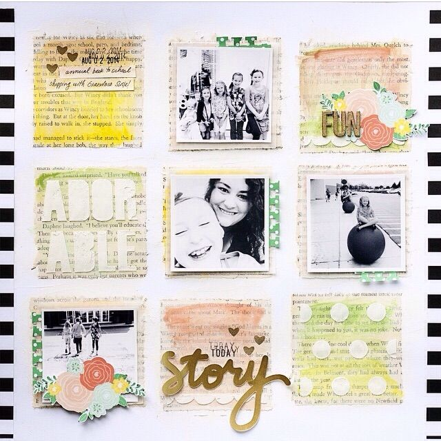 #papercraft #scrapbooking #layout - Adorable - Scrapbooking - Gallery - Paperclipping Forum LO by Jen Schow (gelatos over book pages, etc)