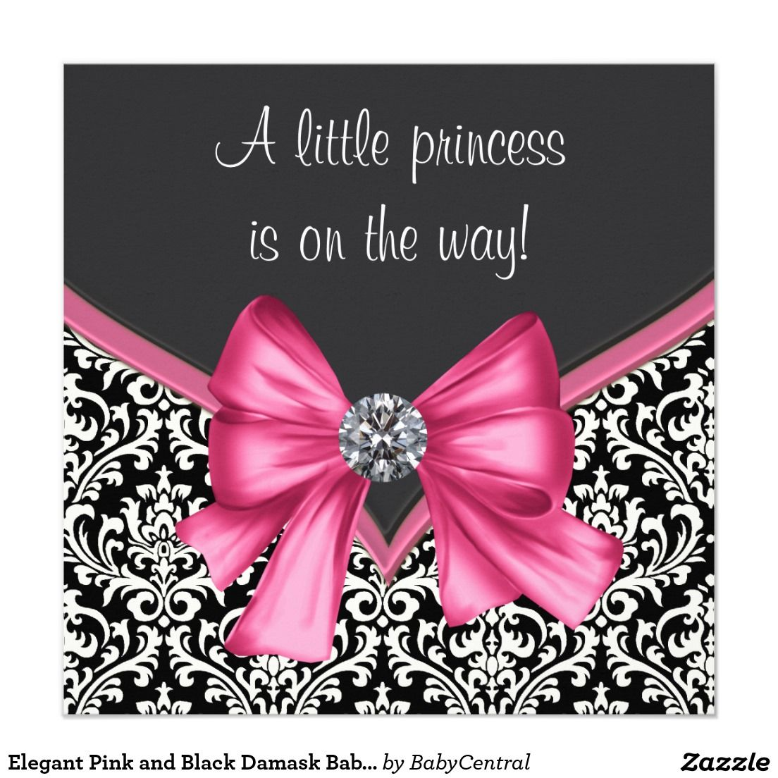 Elegant Pink and Black Damask Baby Shower Card | Damask baby showers ...