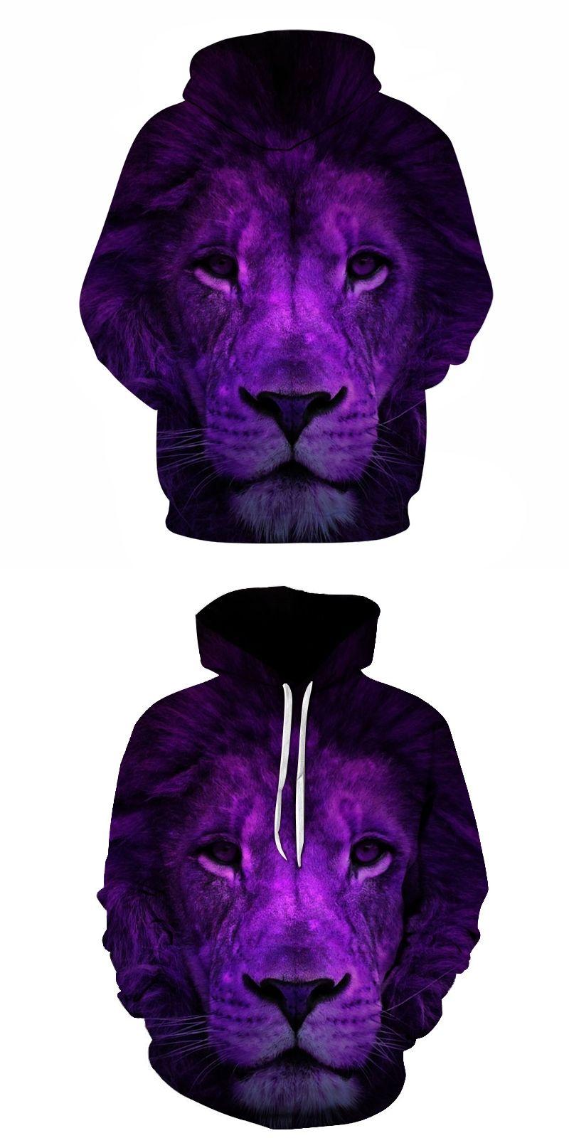 64b6769840a1 3D Sweatshirts Purple Lion King Men Hooded Tracksuit Cool Funny Hip Hop  Rock Pullover Animal Hoodies