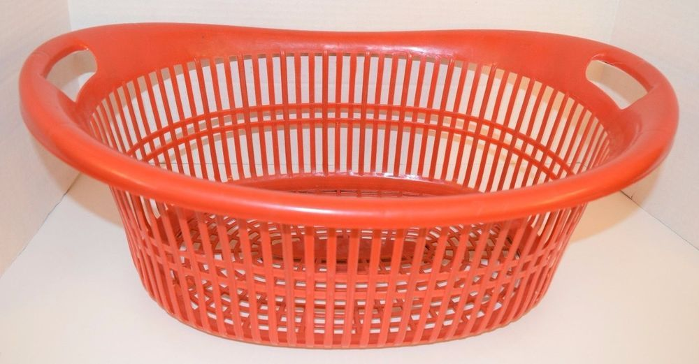 Vintage Orange Plastic Laundry Clothes Basket 70s 60s Mid Century Atomic Era Old Ebay Clothes Basket Laundry Hamper Plastic Laundry Basket
