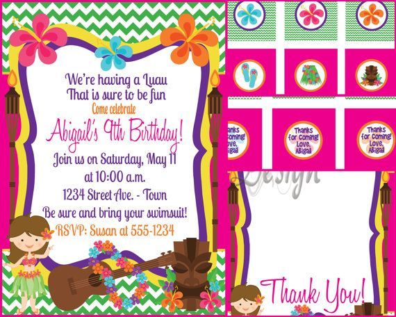 Hula ou hawaen ou luau invitation avec cupcake par mouwdesigns invite with tons of free stuff cheap way to quickly put together a birthday party comes with cupcake tags favor tags and thank you filmwisefo Images