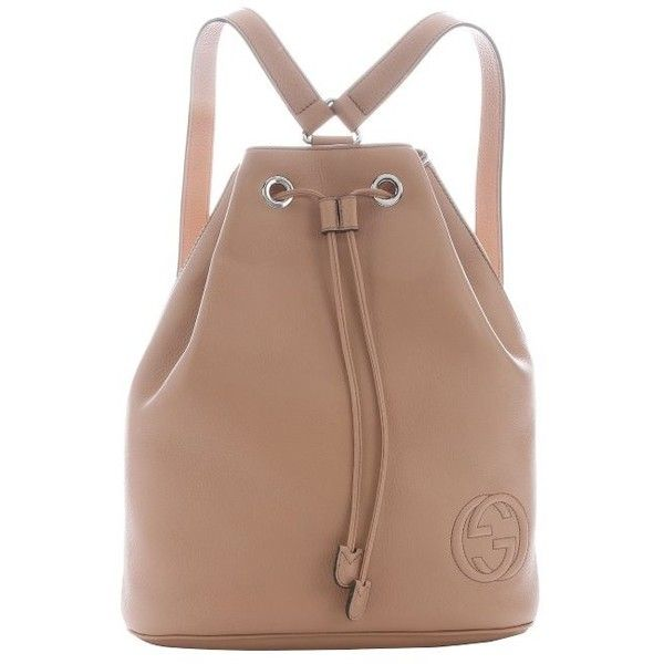 5e03d3fdc0a Gucci Light brown leather  Soho  drawstring backpack (5