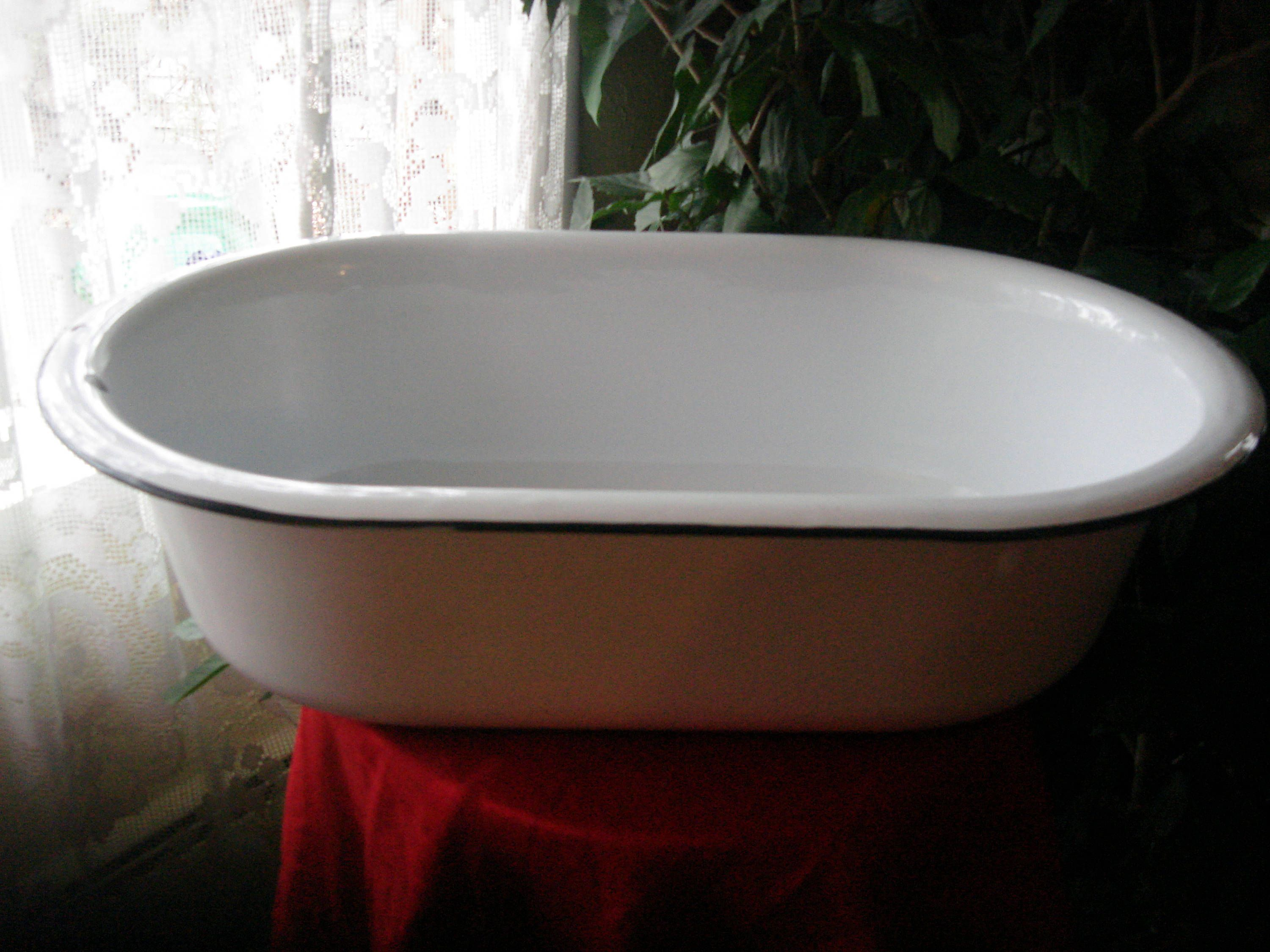 Antique Powder Blue Enamelware Baby Bath Tub Large Oval Enamel Tub