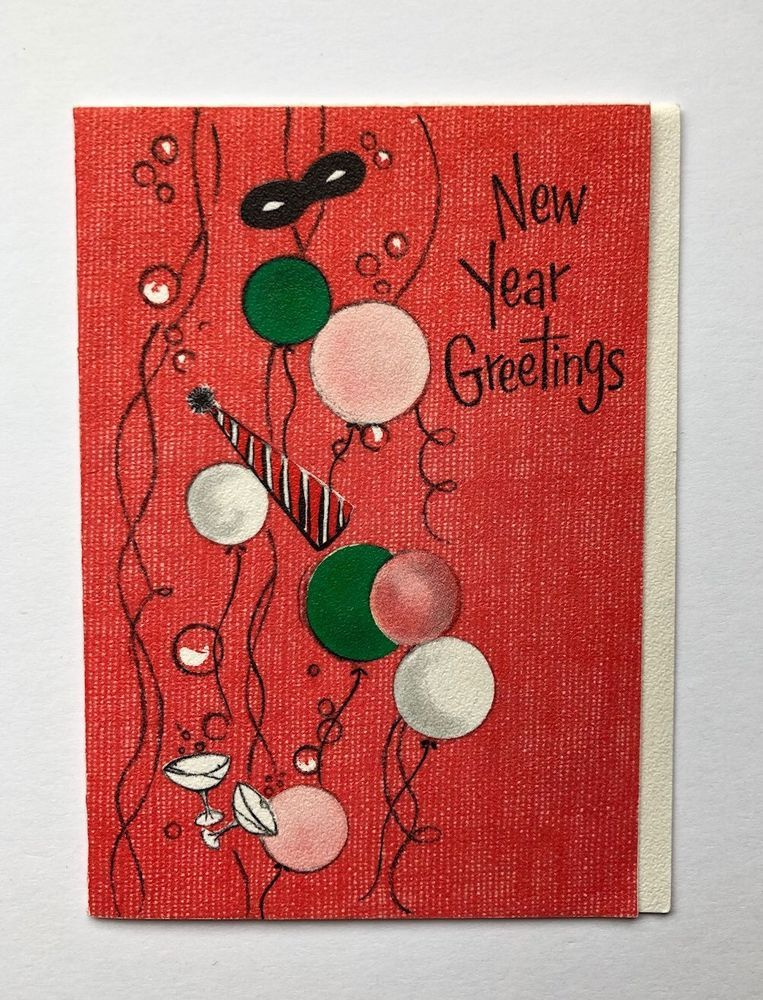 vintage hallmark new years card pink balloon party hat champagne glass bubble
