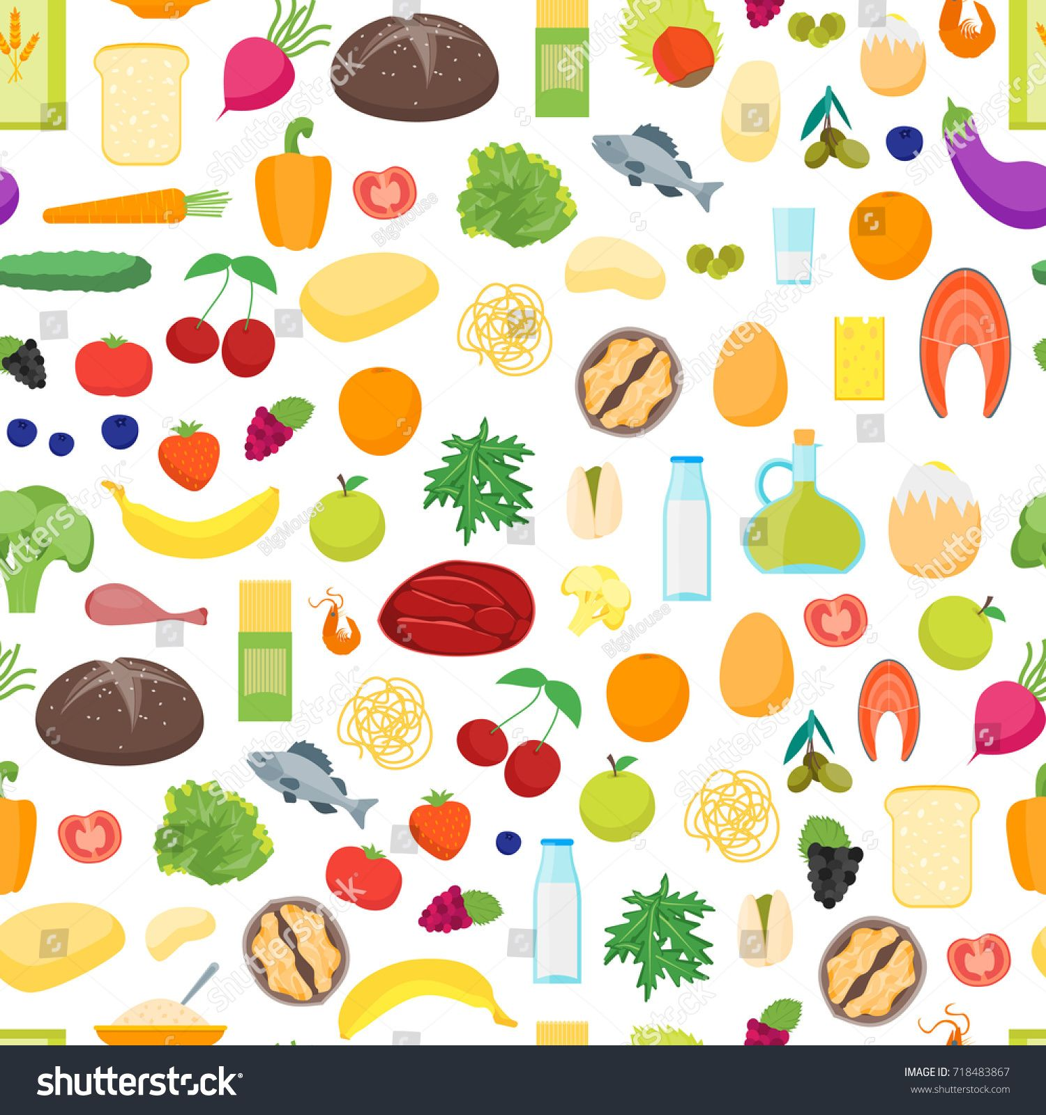 Cartoon Color Healthy Food Background Pattern On A White Nutrition Diet For Health Flat Design Style Vector Illustration Sponsored Sponsored Background P