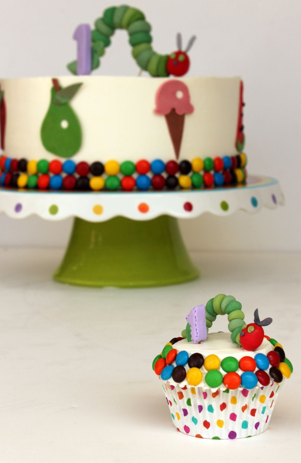 Very Hungry Caterpillar Birthday Cake And Smash Cupcake