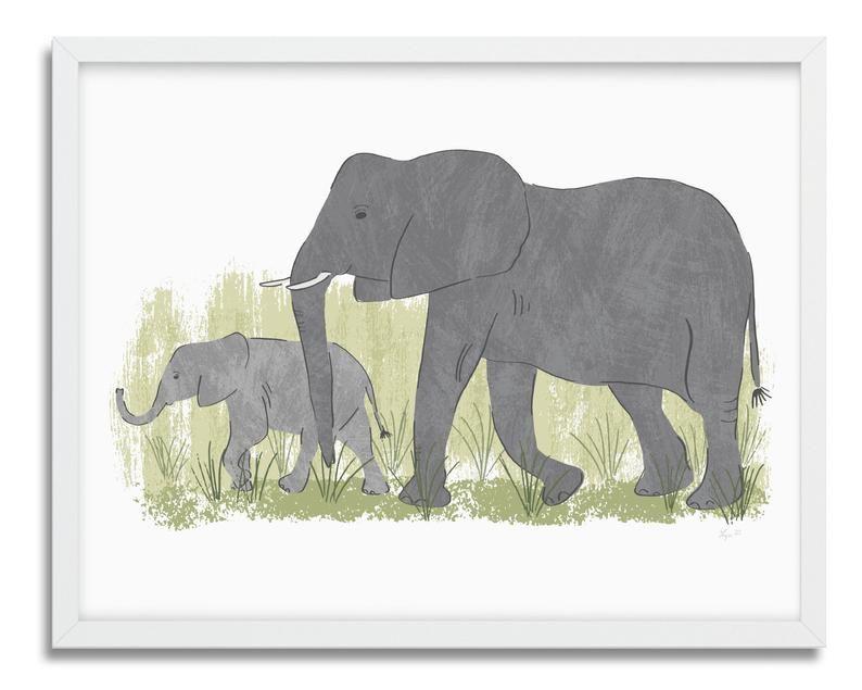 Elephants Art Print Living Room Wall Decor Elephant Mom And Baby Illustration Safari Home Decor Elephant Print Art Elephant Art Nursery Animal Prints