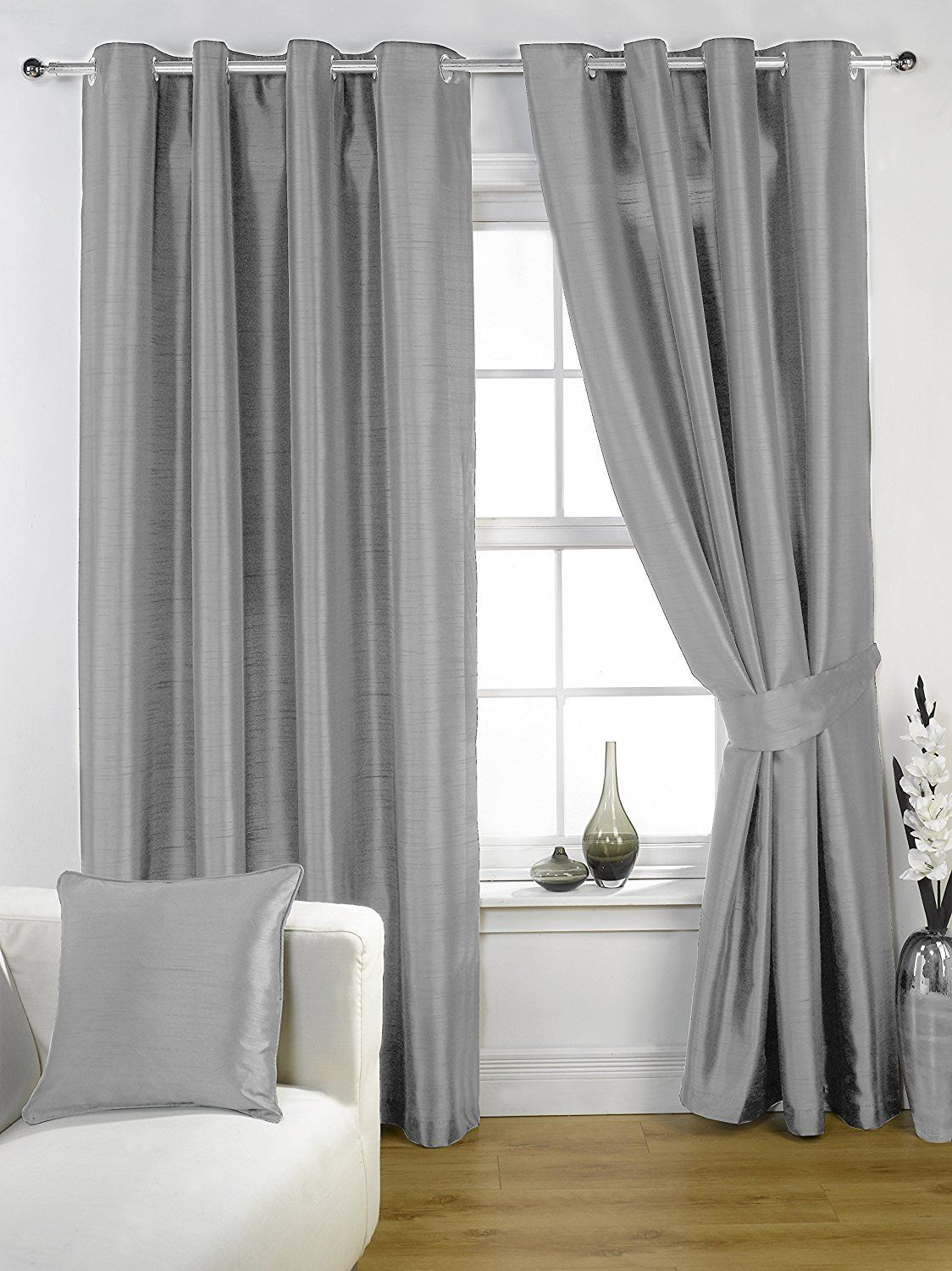 Kliving 45 X 54 Inch 100 Polyester Ravello Faux Silk Lined Eyelet