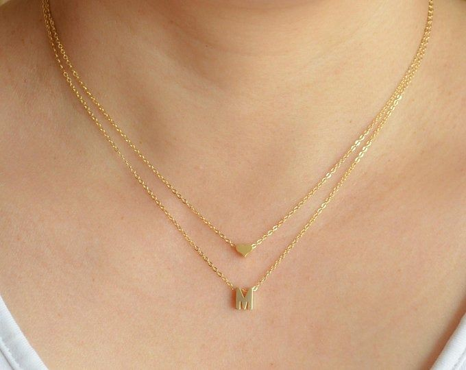 Photo of Gold tiny letter necklace-Initial with heart necklace-Couple love choker-Dainty gold necklace-Gift for her-Name necklace-Valentines day gift
