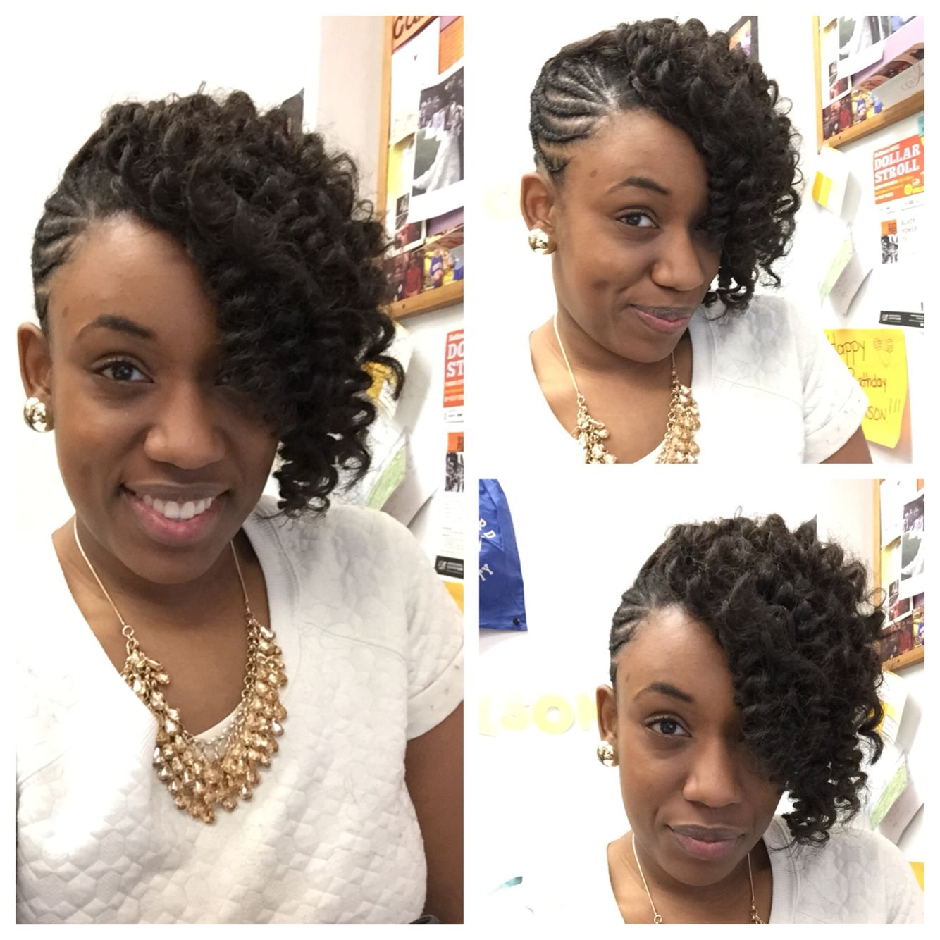 Braided updo with kanekalon hair crocheted and curled to create the