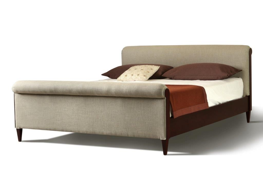 FORTUNATO. Bed made of cherry wood with upholstered headboard and ...