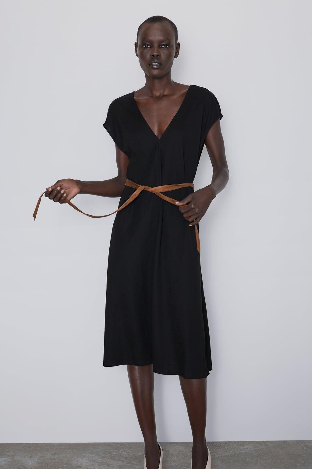 Midi Dress With Belt View All Dresses Woman Zara United Kingdom Belted Midi Dress Dresses Midi Dress [ 1536 x 1024 Pixel ]