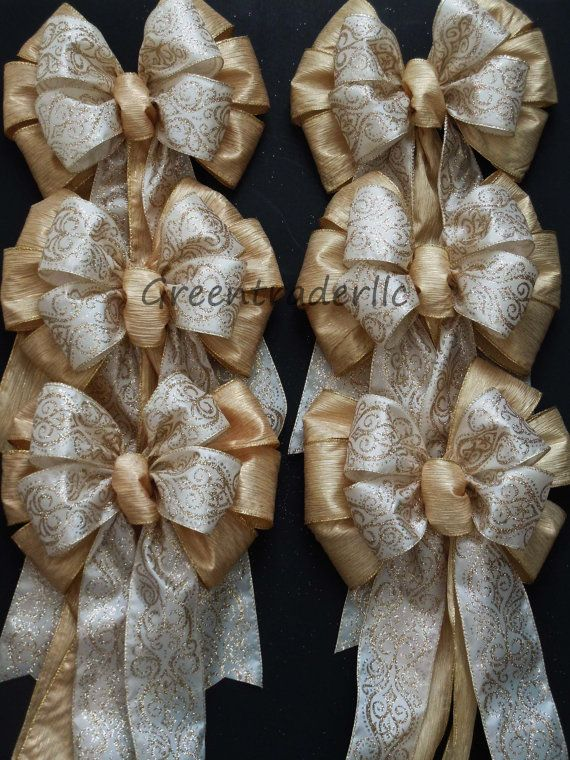 6 Ivory Damask Gold Wedding Pew Bows Christmas Decorative Wreath