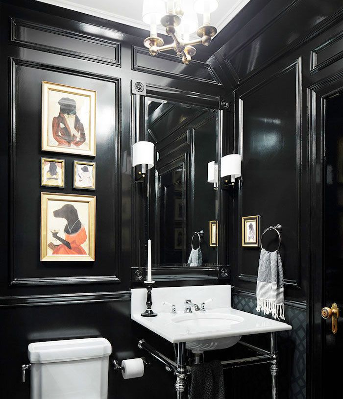 Sophisticated And Elegant Black Powder Room With Wall