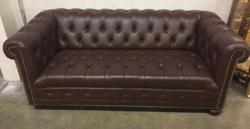 Enjoyable Schafer Bros Brown Leather Chesterfield Sofa 76 Long Machost Co Dining Chair Design Ideas Machostcouk