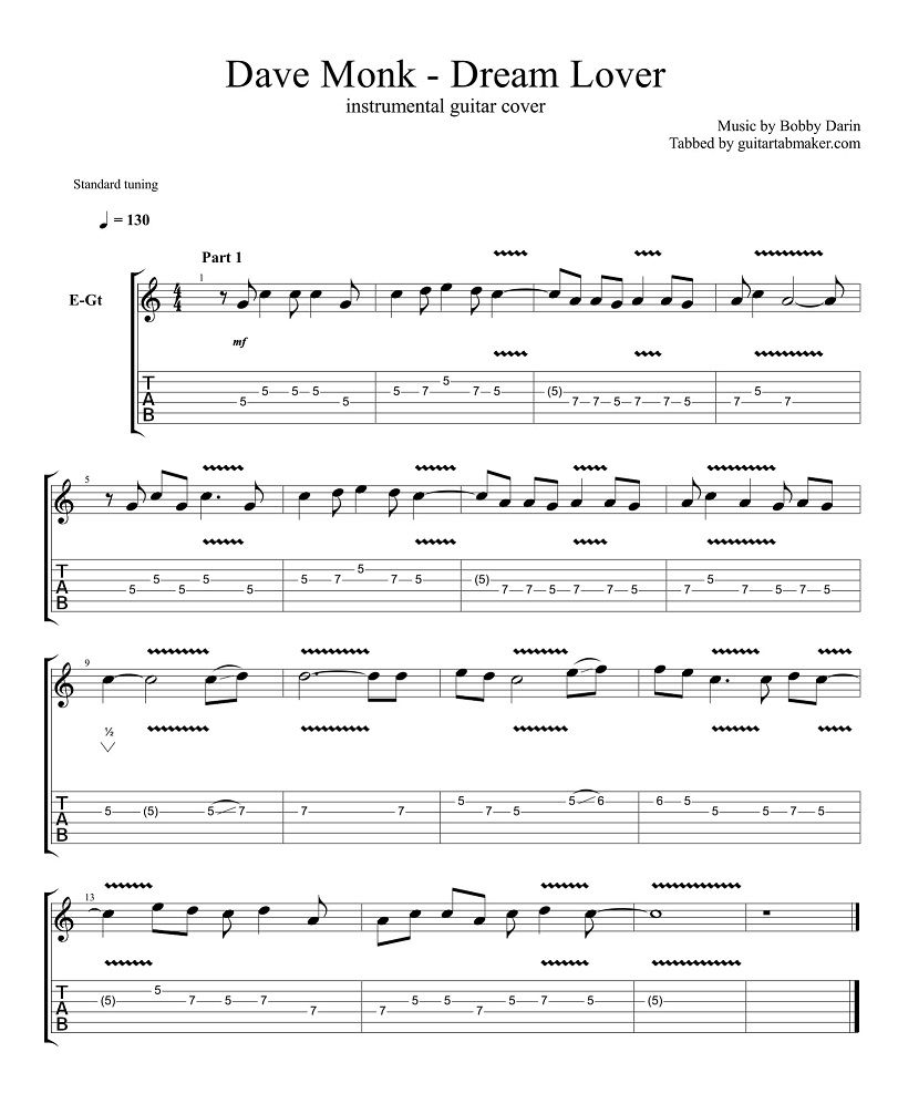 Dream Lover Guitar Tabs Instrumental Guitar Tab Easy Pdf Guitar Sheet Music Guitar Pro Tab Download Dream Lover Guitar Songs Dave Monk