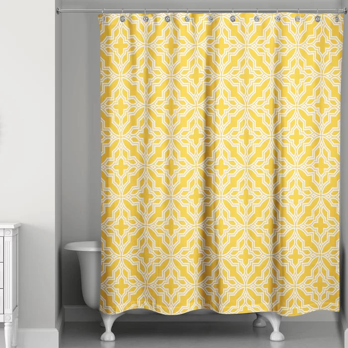 Kennelly Tile Single Shower Curtain In 2020 Yellow Shower Curtains Cool Shower Curtains