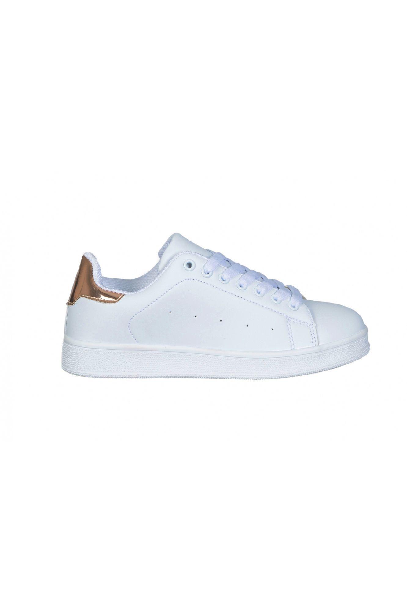 88ed5908c9f Γυναικείο παπούτσι sneakers τύπου stan smith άσπρο-champagne. σνικερς, λευκα  αθλητικα παπουτσια, σαμπανιζε υποδηματα