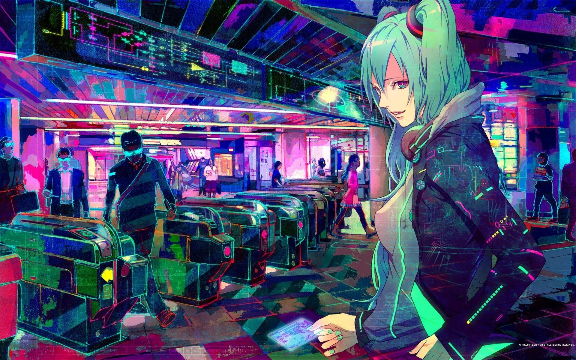 Cyberpunk Anime Headphones Hatsune Miku Vocaloid Train Stations