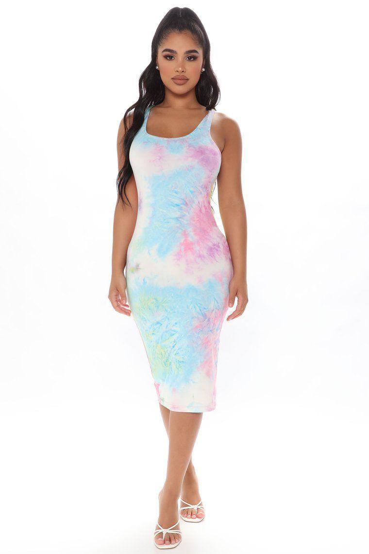 Life In Watercolor Tie Dye Midi Dress Multi Color in