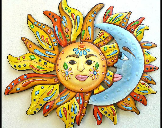 Sun - Moon Art, Metal Wall Art, Painted Metal Wall Hanging,24 ...