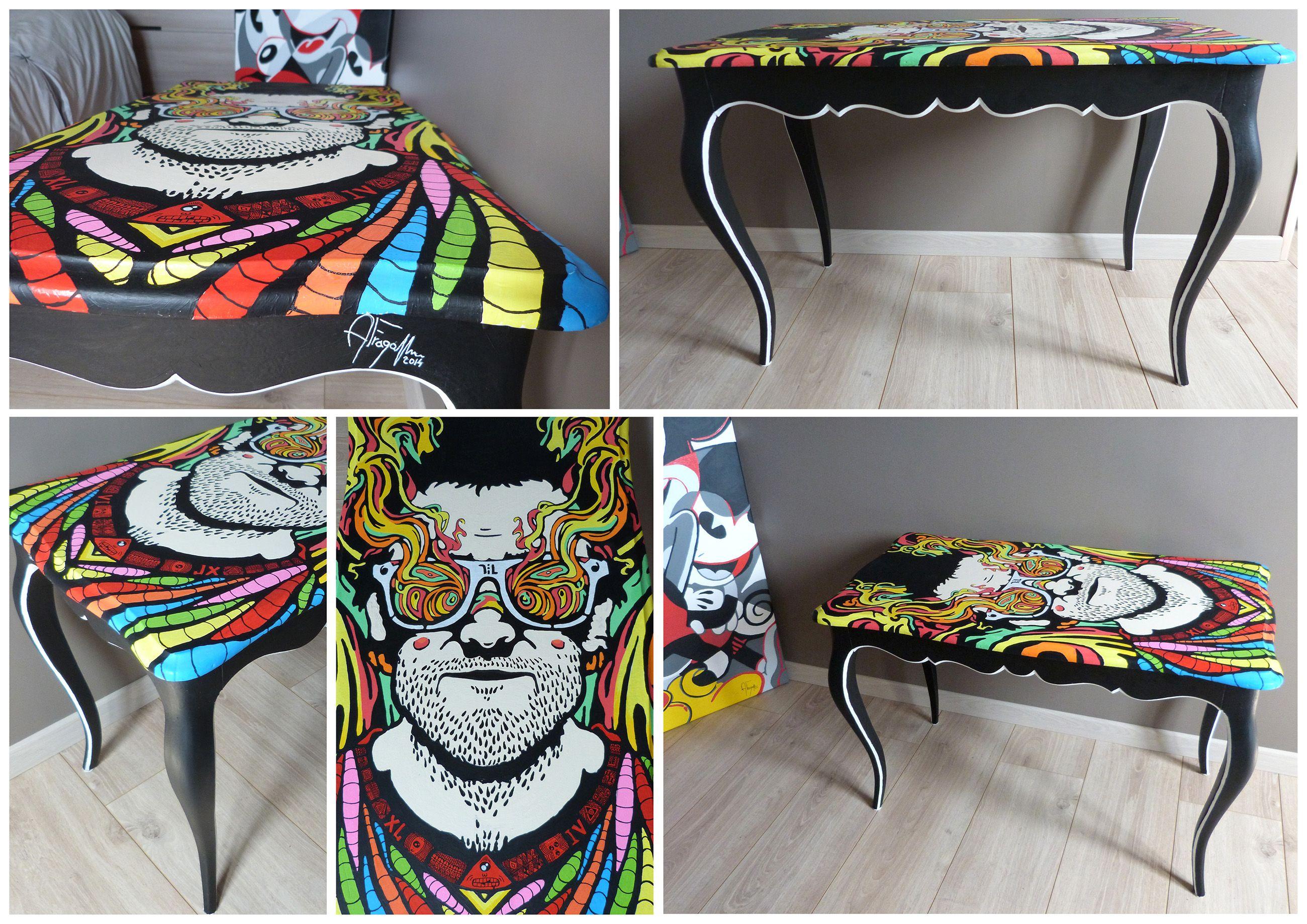 Table Basse Vintage Art Visionnaire Le Redesign De Tables Consiste A Peindre Une Table Pour Lui Redonner Vie Et En Tables Peintes Table Basse Peinte Peinture