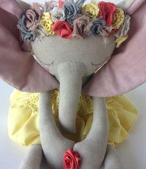 OOAK Spring Elephant Heirloom Doll by PeanutAndElliott on Etsy