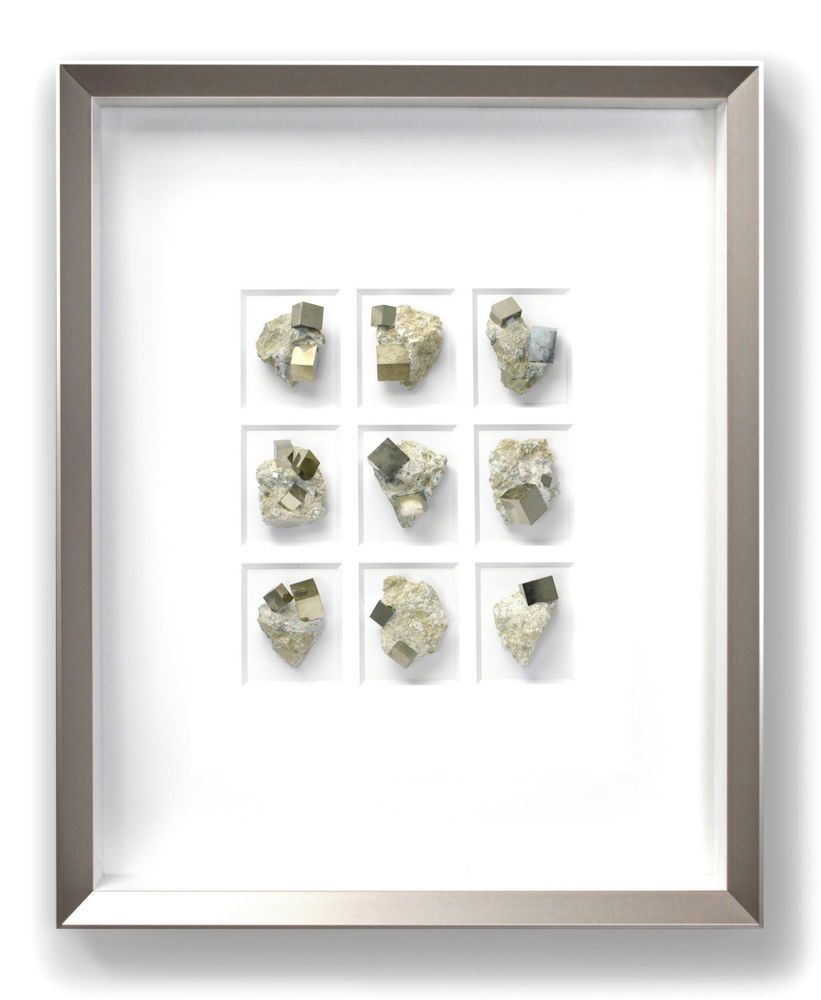 Pyrite Crystal Cubes Mineral Artwork, 3D Mounting, Silver Frame, 16 ...