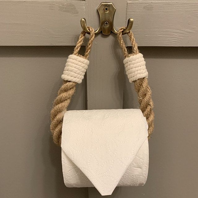 Photo of Toilet Paper Rope Holder..Industrial decor..Toilet Roll Holder..Jute Rope Nautical Decor..Bathroom decor..Towel Holder