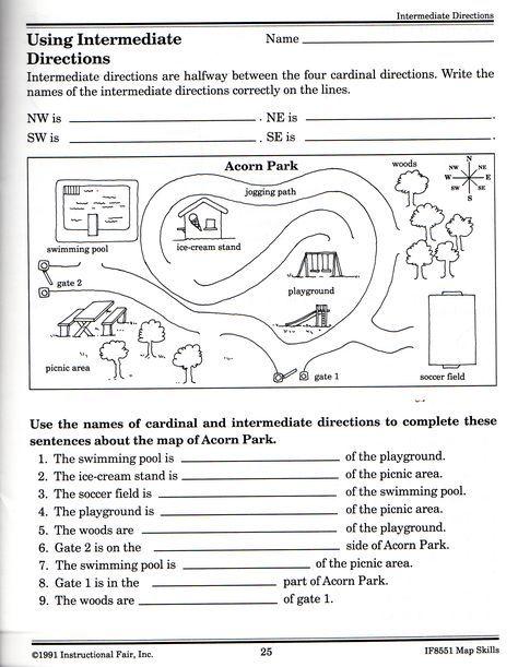 Intermediate Directions Worksheet | Social Studies | Pinterest