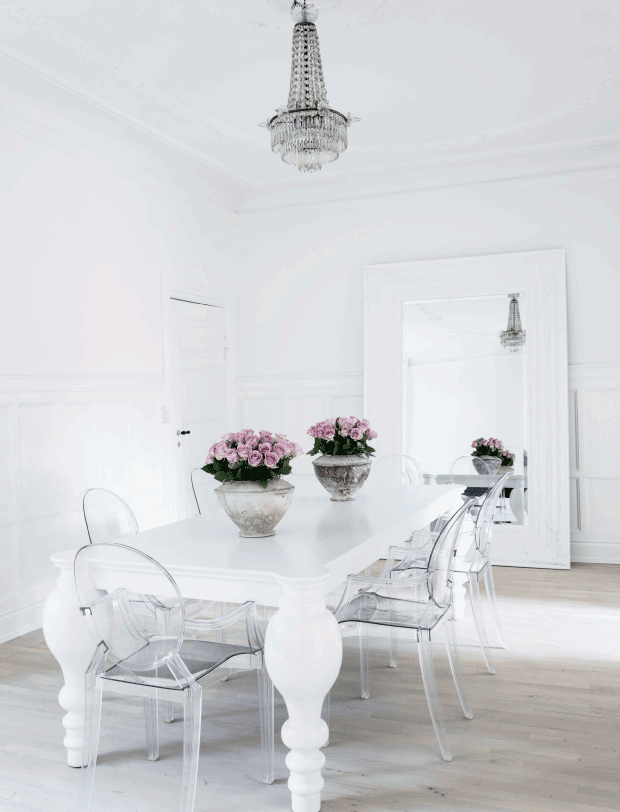 Serene And Romantic Apartment In Copenhagen Shabby Chic Dining Room Luxury Dining Room Ghost Chair Dining Room