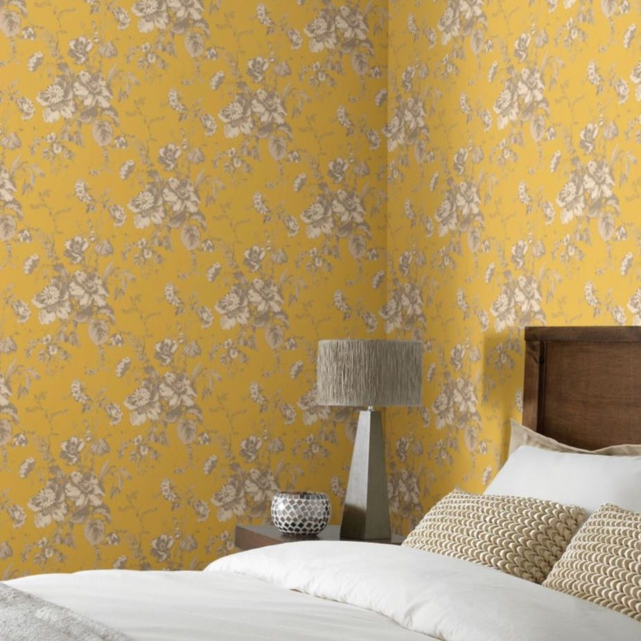 Old country style bedroom with yellow-gold feature walls. Really add ...