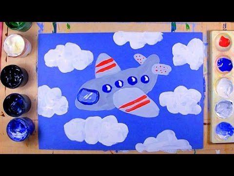 Как нарисовать самолет - урок рисования для детей 4-8 лет. Дети рисуют самолет поэтапно гуашь - YouTube