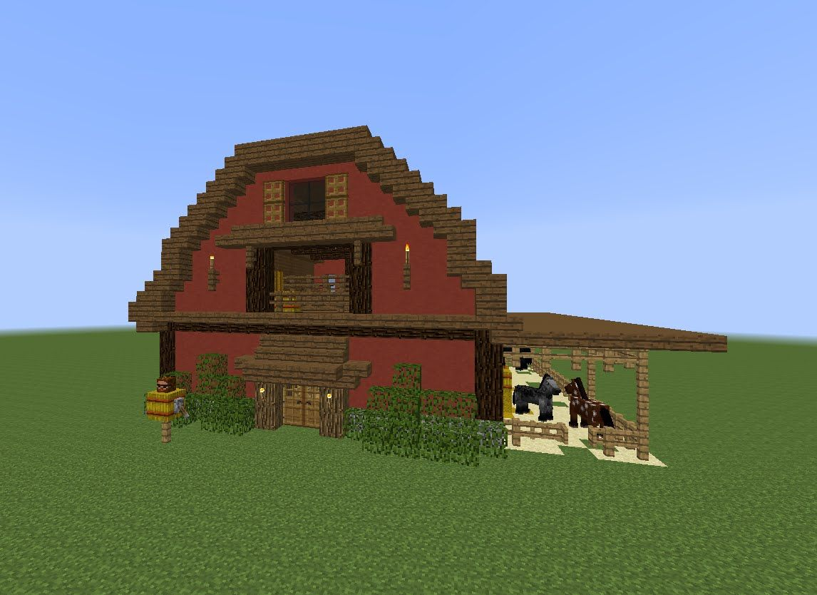 Minecraft tutorial how to build a barn minecraft for Building a farmhouse