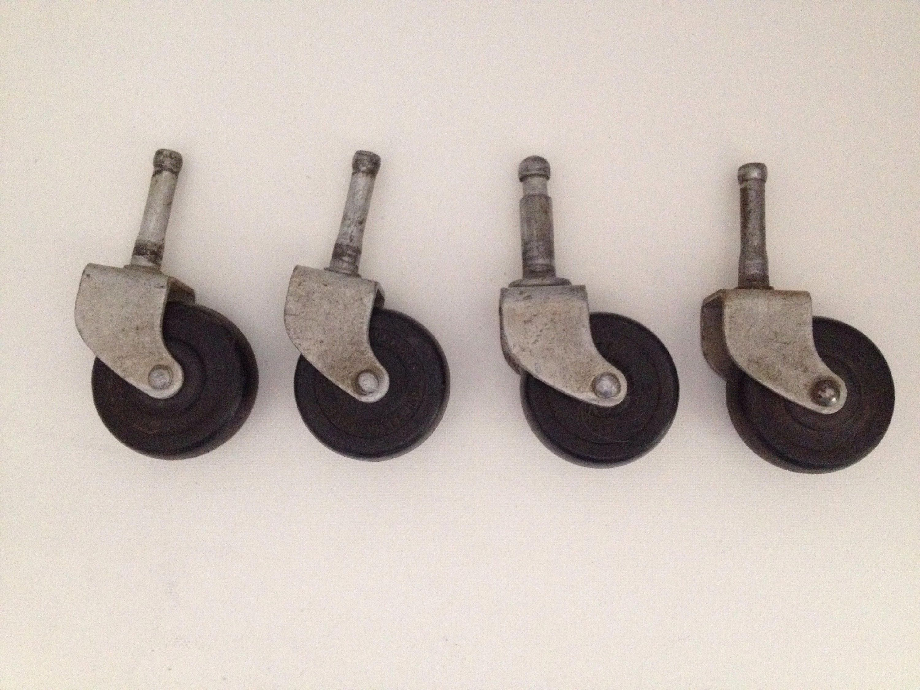 Noelting Faultless Caster Wheels 2 Inch Lot Of 4 Stem Wheel Casters No 17 Industrial Peg Vintage Hardware Evansille I Vintage Hardware Casters Wheels Hardware
