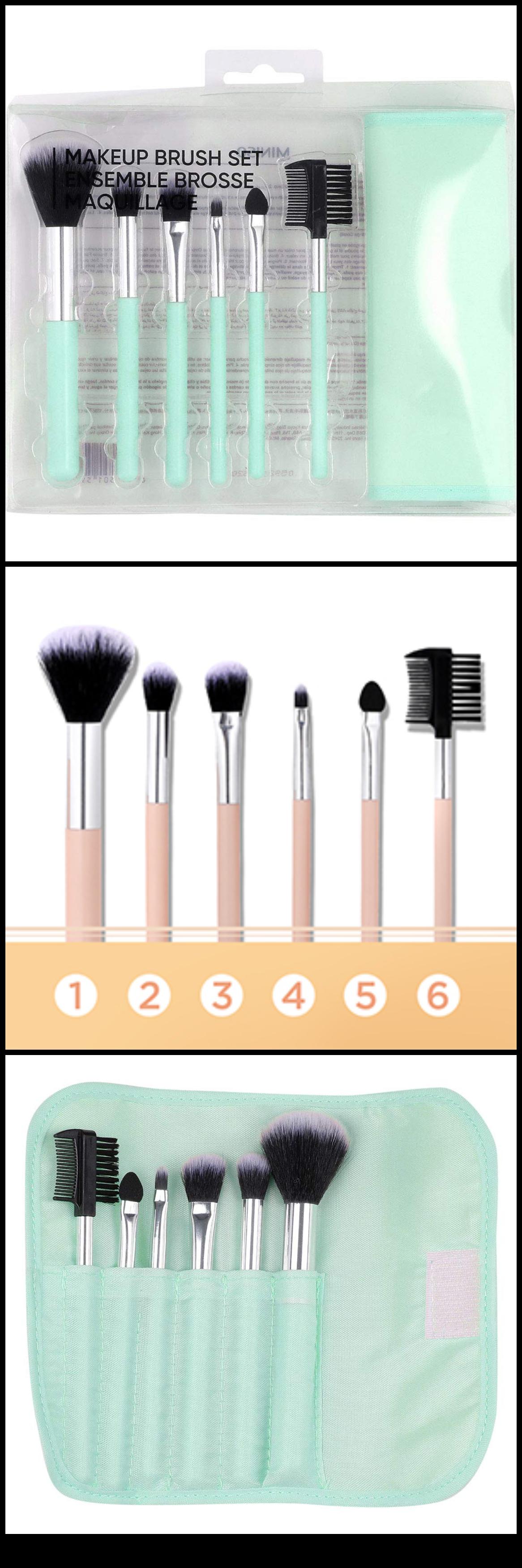 Miniso Makeup Brush Set 7pcs Foundation Brush Set For Face Makeup Pale Turquoise Eye Makeup Application Makeup Brush Set Professional Makeup Artist