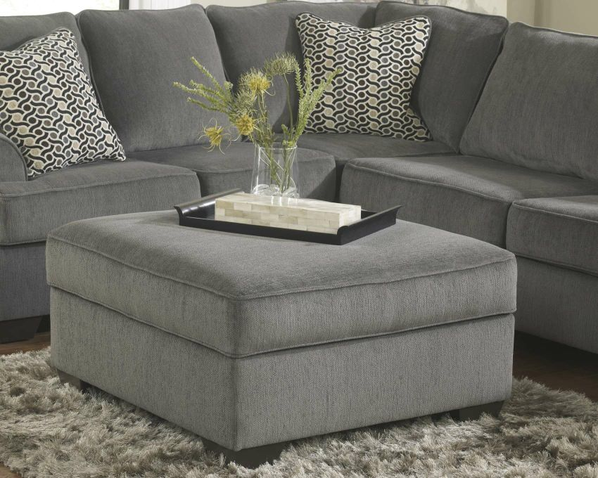 Loric Collection 12700 Smoke Sectional Sofa Square Storage Ottoman Grey Storage Ottoman Ottoman In Living Room