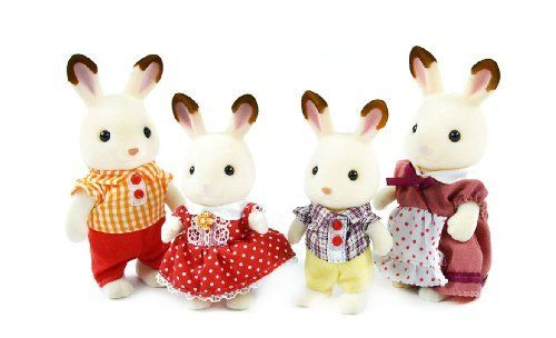 Calico Critters Hopscotch Rabbit Family (020373216426) The new family in town is the Hopscotch rabbit family, and they enjoy an active lifestyle Mother heidi is a gym teacher at the cloverleaf corner high school and father harlin is a sports reporter for the local paper Includes mother heidi, father Harlin, sister Belle, and brother Skip They all have jointed arms and legs, and heads that turn Mix and match with other Calico Critters play sets